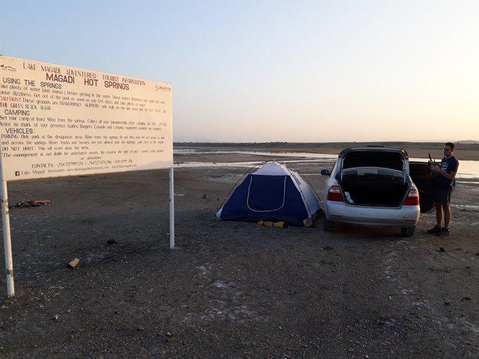 Zona de acampada en Magadi