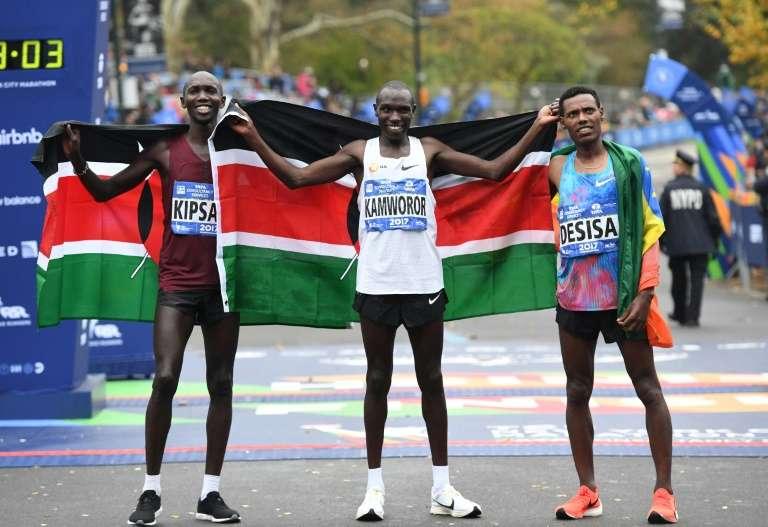 Corredores de Kenia en la maraton de New York