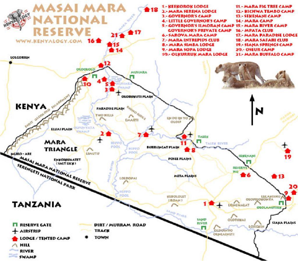 Mapa del masai mara en Kenia